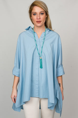 Long Sleeve Blue Shirt with Flare