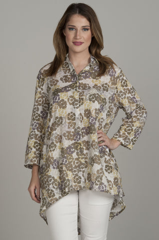 Surf Blue High-Low Floral Tunic
