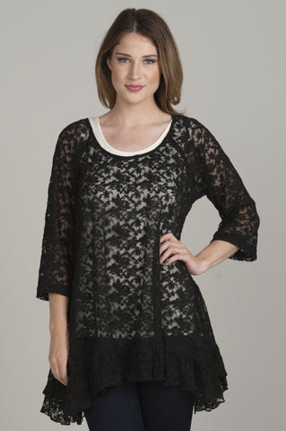 Lace Ruffle Black Tunic