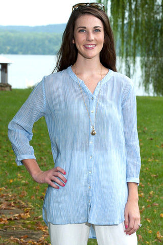 Textured Crinkle Cotton Gauze Shirt - Blue