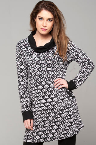 Printed Cowl Neck Tunic