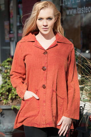 Aria Stone Wash Rusty Red Jacket