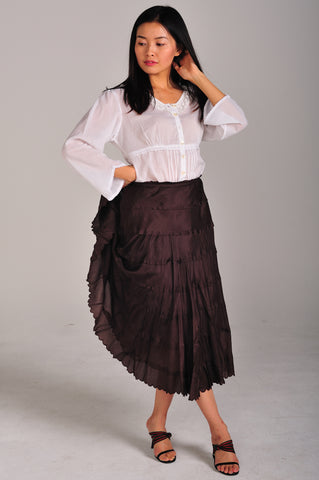 Silk Layered Brown Skirt