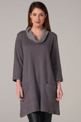Dotted Cowl Neck Tunic