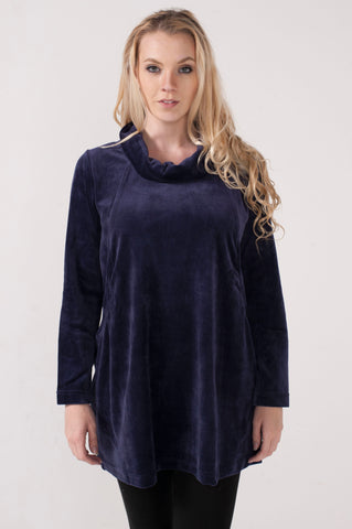 Velour Funnel Eggplant Tunic