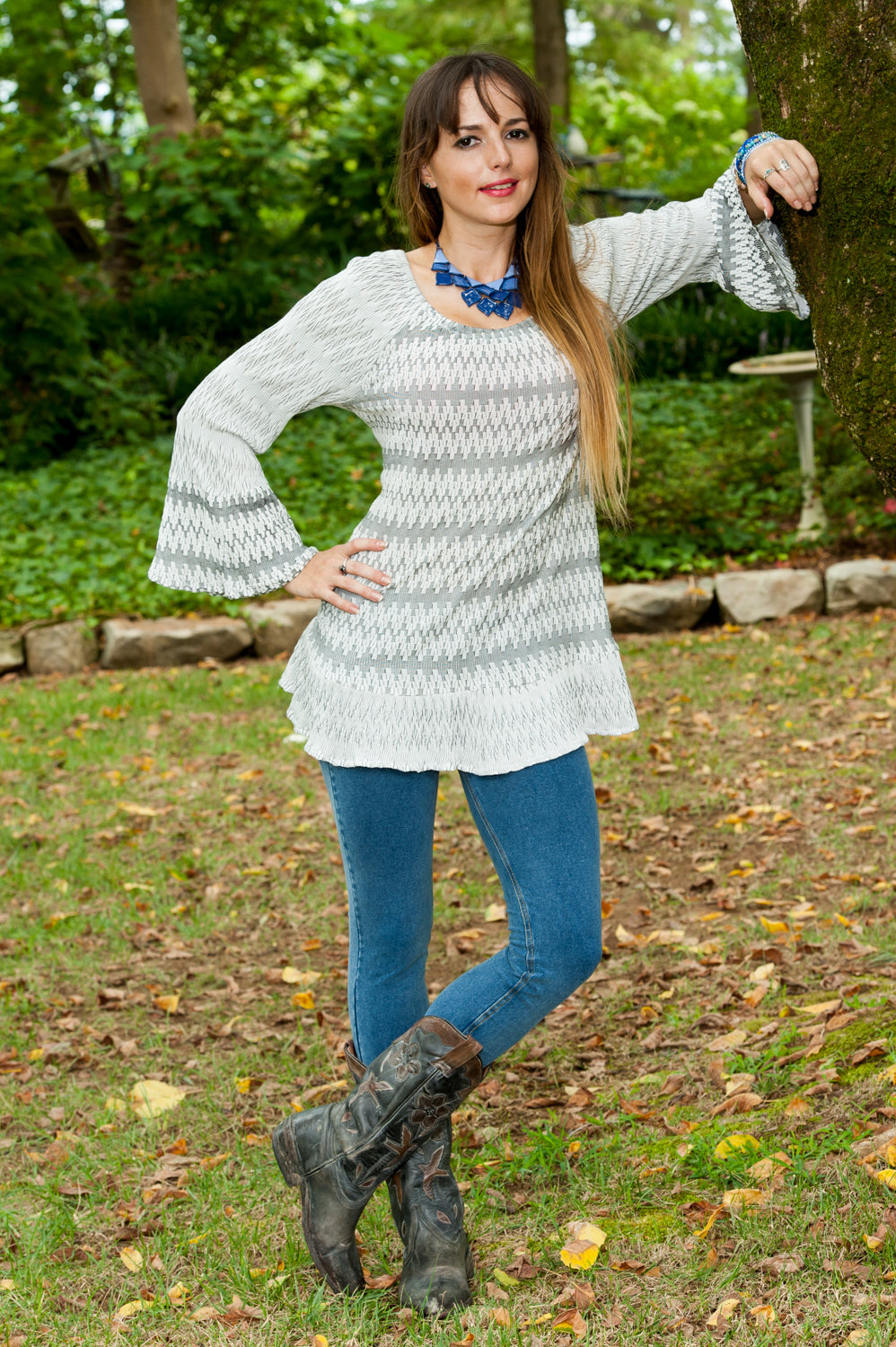 Textured Tunic with Bell Sleeves
