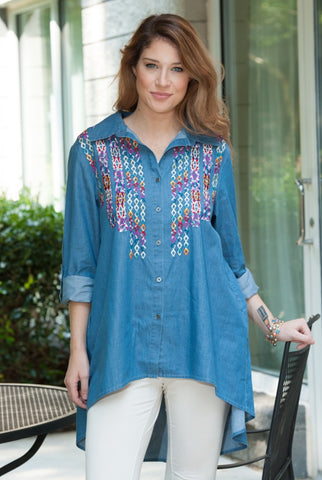 Multi-Color Embroidery Denim Shirt