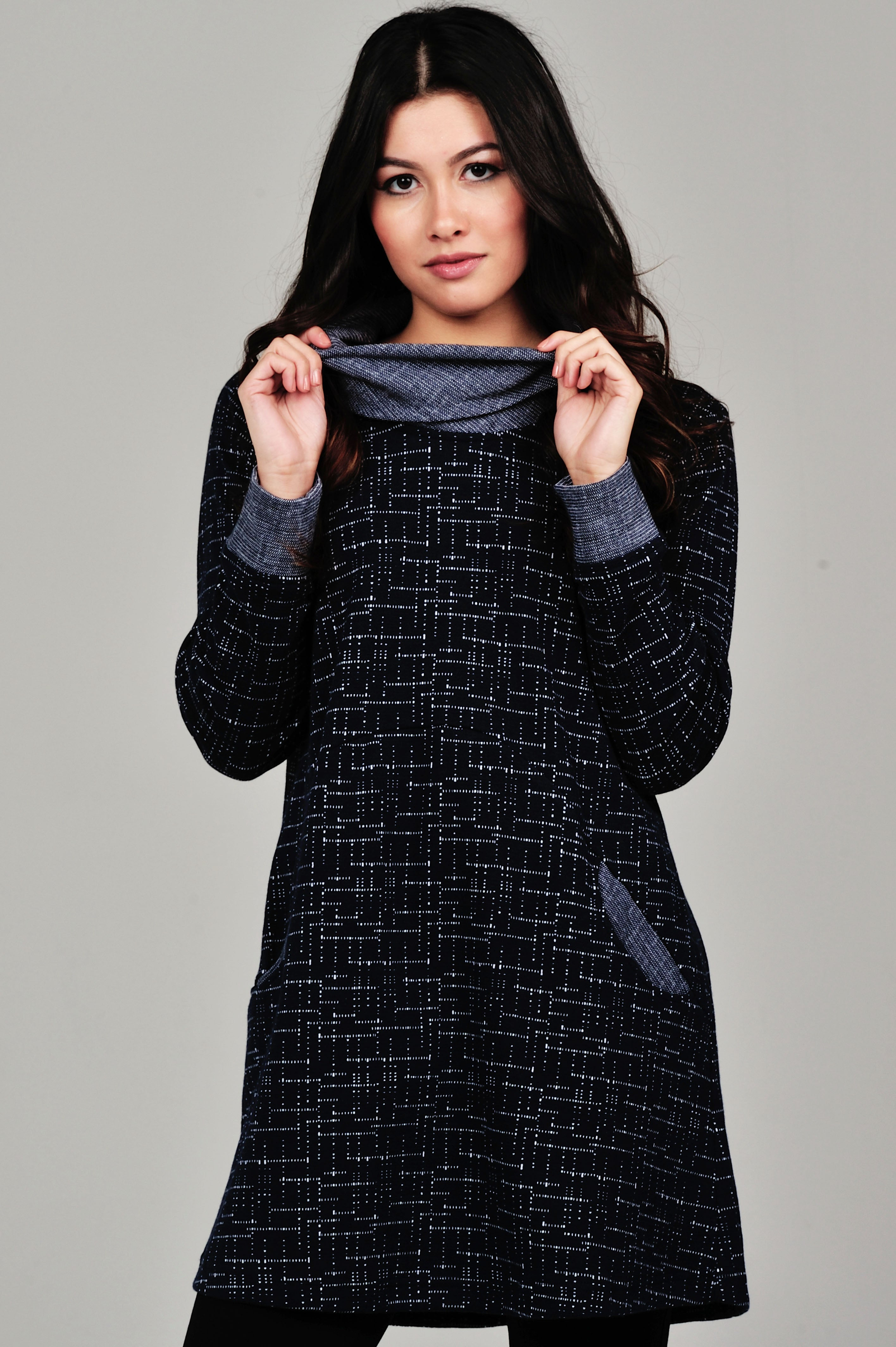 Two Tone Cowl Neck Tunic