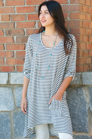 Stripe Tunic with Pockets