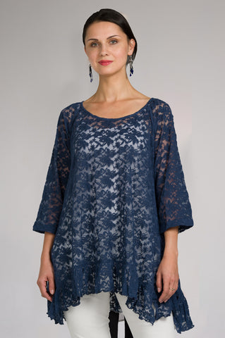 Lace Ruffle Navy Tunic