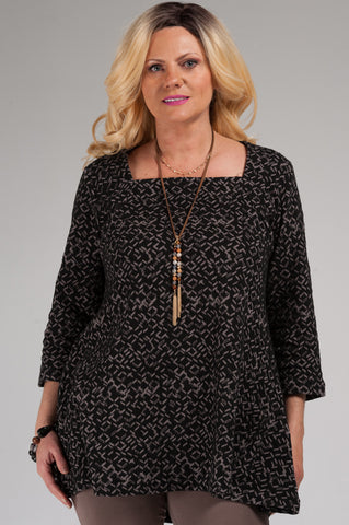 Mila Square Neck Mocha Tunic