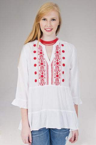 Red Embroidered Bell Sleeve Top