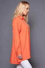 Boxy Shirt with Flare in Coral