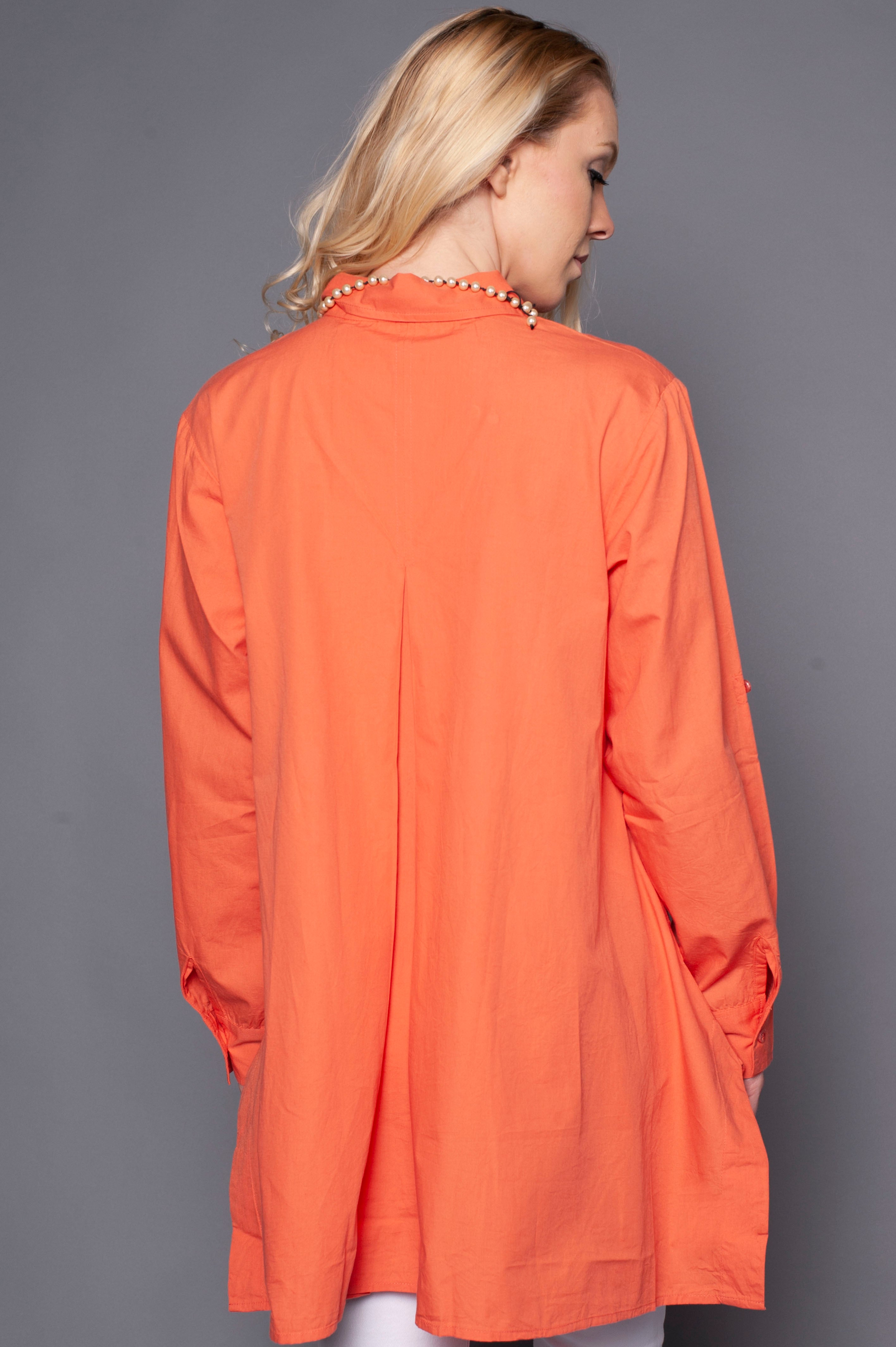 Long Sleeve Coral Shirt with Flare