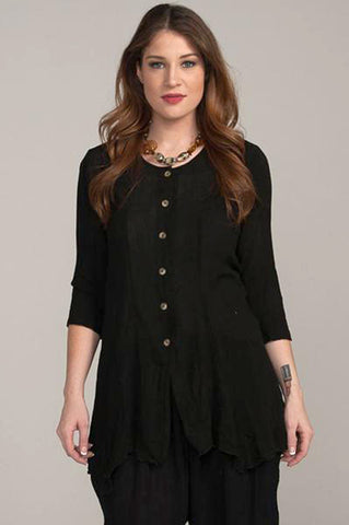 Asymmetrical Black Button Tunic