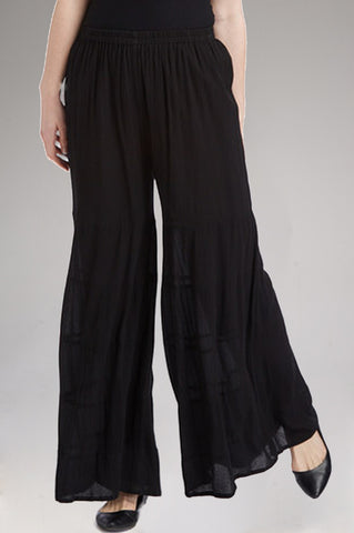Black Tiered Flare Pants