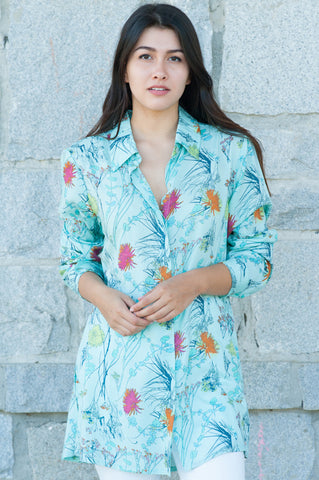 Floral Sea Green Button Down Shirt