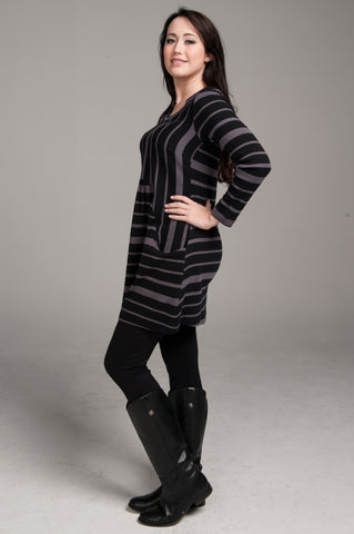 Stripe Two-Front Pocket Tunic