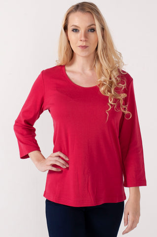 Solid 3/4 Sleeves Red Top