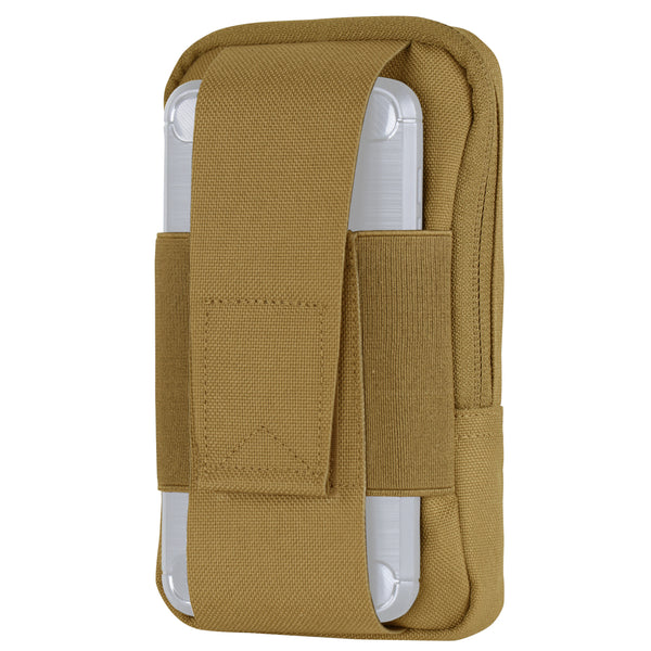 "Elastic phone sleeve with flap closure Two pen loops for organization Main compartment with zipper closure Phone Pocket Height: 4"" MOLLE compatible for attachment"