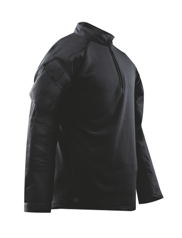 COMBAT SHIRT, COLD WEATHER BLK P/C R/S 1/4 ZIP, XSR