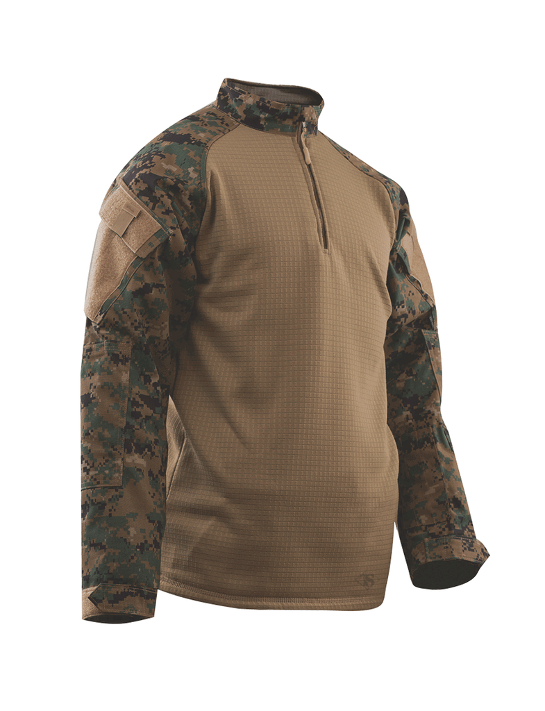 COMBAT SHIRT, COLD WEATHER WOODLAND DIG. P/C R/S 1/4 ZIP, XSR