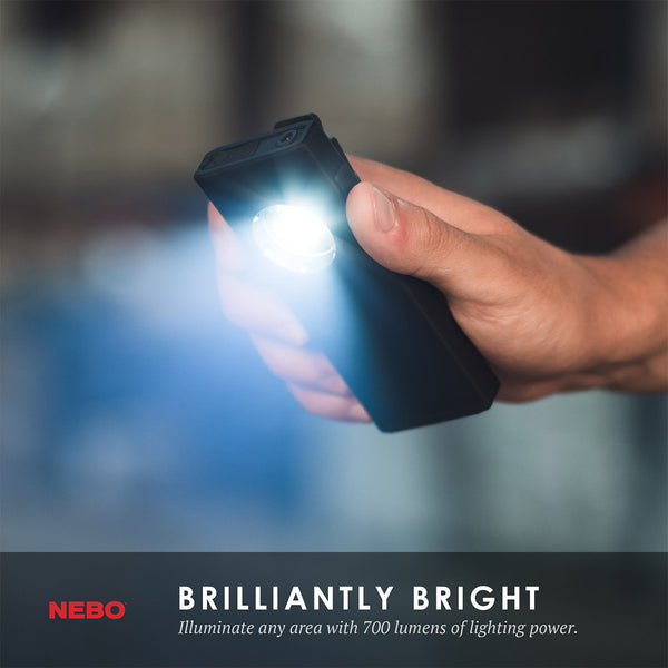 NEW FROM NEBO! The SLIM+ is a thin, ergonomic rechargeable 700 lumen pocket light with a red laser pointer and a Power Bank for your USB powered devices. Equipped with full dimming and Power Memory Recall, the SLIM+ also features a detachable magnetic pocket clip, collapsible hanging hook and powerful magnetic base