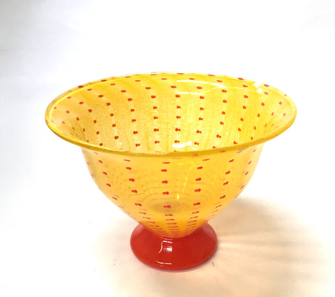 1980s Sweden Yellow & Orange Art Glass Bowl - The Mart Collective Venice CA