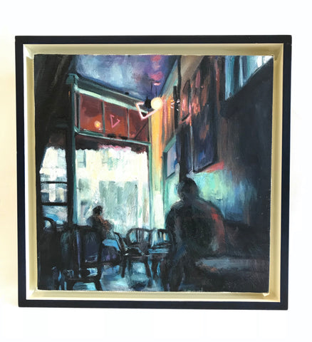 1996 Oil Painting of Coffee Shop by Daniel Yatomi