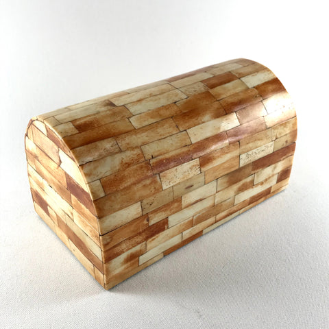 Vintage Tessellated Bone Box with Arched Lid