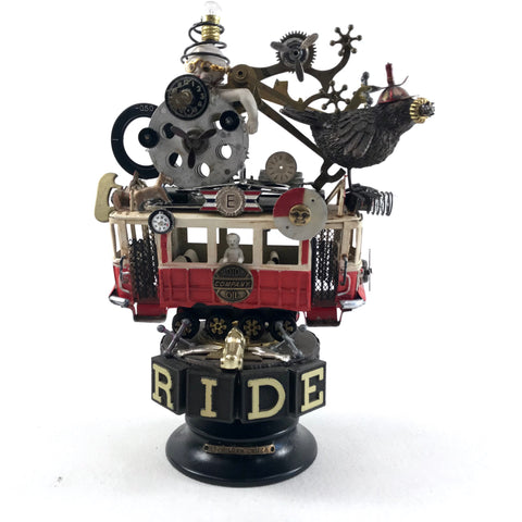 "Original Steampunk Assemblage ""Trolley Ride"" By Beverly Holman"