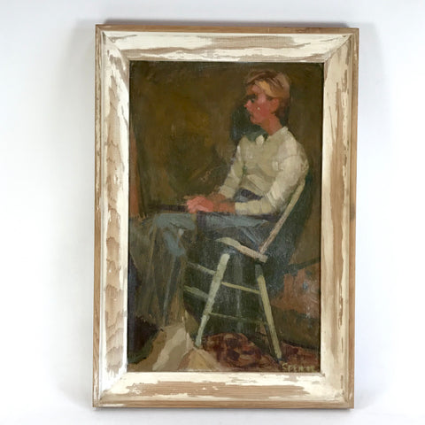 Vintage Oil on Board Portrait Young Man In White Chair Signed
