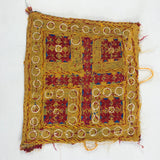"1970's Embroidered Indian Tapestry 9"" Square with Mirrors & Knotted Tassels (#5)"