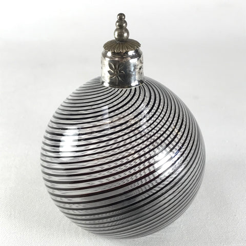 Hand Blown Round Glass Jar Black Stripes and Silver Top Cork