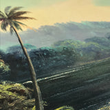 Vintage Oil on Canvas Tropical Landscape Palm Trees in Bay Signed