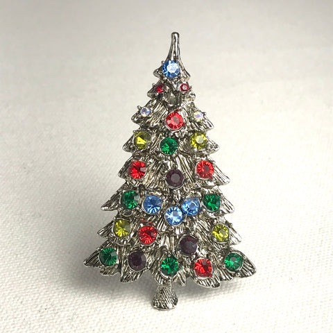 Metal Christmas Tree Pin or Brooch with Colorful Rhinestones