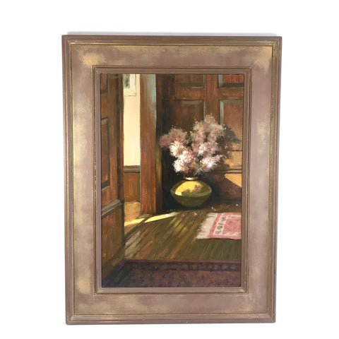 Framed Oil On Board Interior Scene Vase of Tall Flowering Branches Signed Mitch Billis