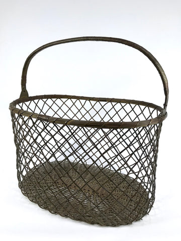 Vintage Oval Brass Wire Basket with Handle