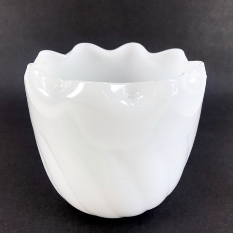 "Mid-Century 6"" Tall Milk Glass White Planter Crimped Edge"