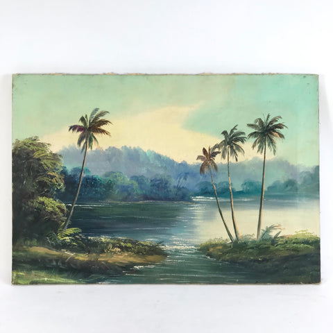 Vintage Oil on Canvas Tropical Landscape With Palm Trees Signed