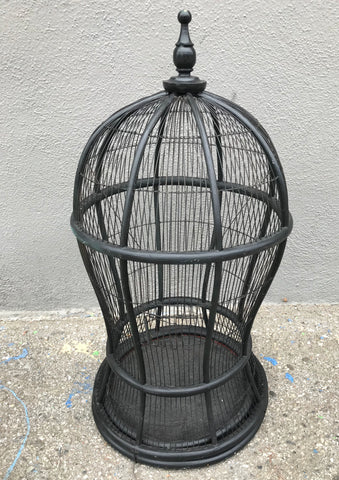 Large Vintage Cane & Wire Bird Cage Painted Black
