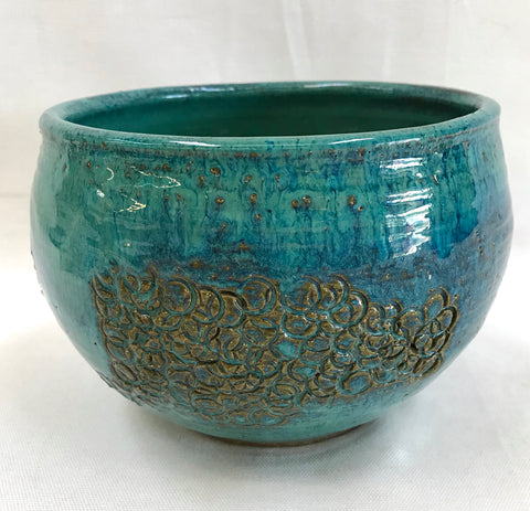Original 1960's Teal Studio Pottery Bowl by Sid Felsen of Gemini Gallery