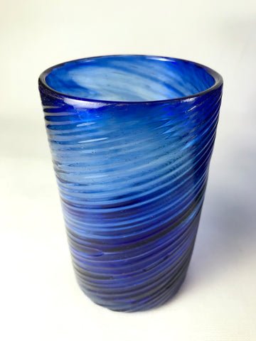 Vintage Hand Blown Cobalt Glass Tumbler - 16 Available