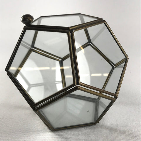 Vintage Dodecahedron Glass & Brass Trinket Box