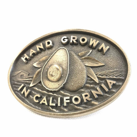 1980's California Avocado Brass Belt Buckle 1980s