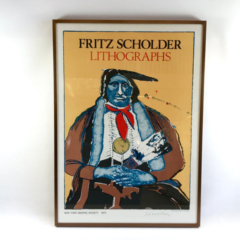 Framed 1975 Fritz Scholder Lithographs Poster Colorful Portrait Signed