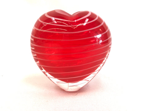 Encased red heart shaped vase with white swirls at The Mart Collective in Venice, CA