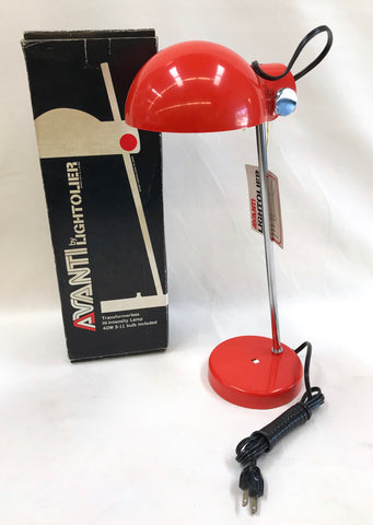 1970's Bright Vermillion Lightolier Avanti Lamp New Old Stock