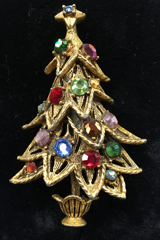 Hollycraft Christmas Tree Pin Vintage.  The Mart Collective Venice Los Angeles CA.