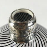 Hand Blown Round Glass Decanter Black Stripes and Silver Top Cork